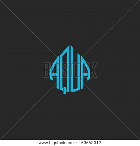 Aqua Logo Idea Word Lettering Mockup Sticker, Blue Mineral Water Emblem, Text Shape Abstract Drop Ic