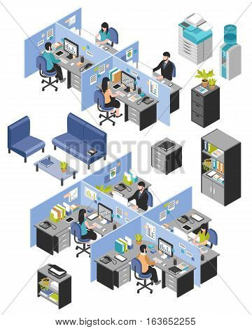 Isolated isometric cubicle office workplaces set with desktop tables shelves and workers images on blank background vector illustration