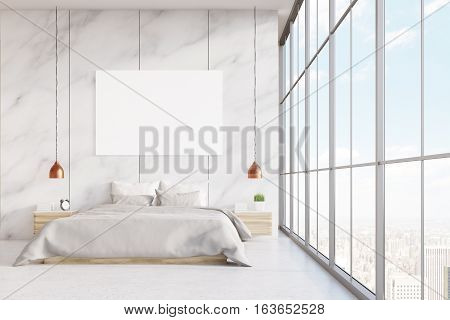Front View Of Marble Bedroom With Poster