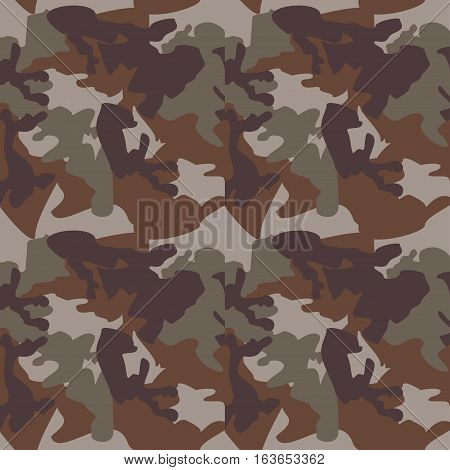 Camouflage pattern background seamless clothing print repeatable camo glamour grunge of scratch vector. Olive brown grey