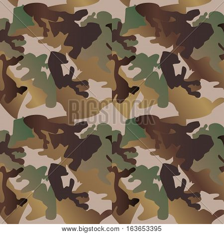Camouflage pattern background clothing print repeatable camo glamour vector. Olive brown grey