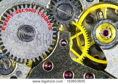 Clockwork Old Mechanical  High Resolution With Words Time Every Second Counts