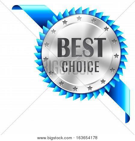 Best choice award medal with blue ribbon. Corner decoration element