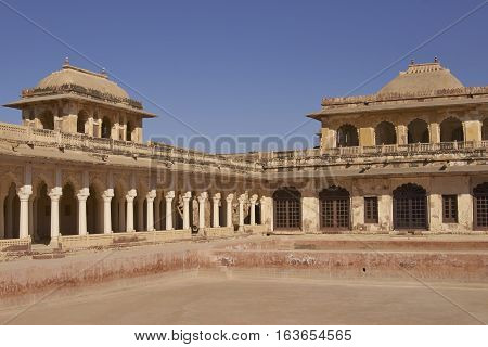 NAGAUR, RAJASTHAN, INDIA - FEBRUARY 14, 2008: Amar Singh Mahal.  Historic Rajput-Mughal style palace inside the Nagaur Fort in Rajasthan, India. Buildings date from 16th -18th centuries.