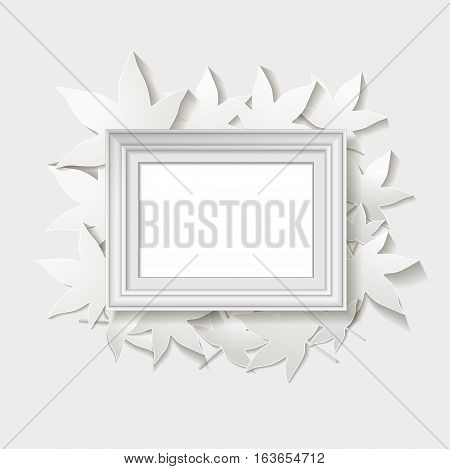 white frame with paper leaves. vector illustration