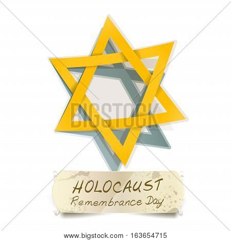yellow Star of David and Holocaust Remembrance Day vector illustration