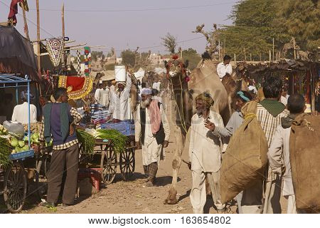 NAGAUR, RAJASTHAN, INDIA - FEBRUARY 15, 2008: Crowded street full of temporary stalls at the annual livestock fair in Nagaur, India.
