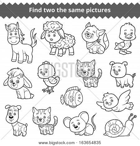 Find two the same pictures, education game for children, vector set of farm animals