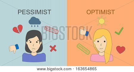 Optimist and pessimist concept. Two points of view. Happiness and sadness. Upset and joyful women.