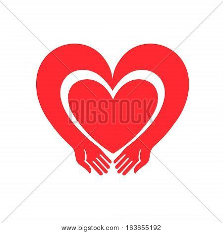 hands forming a heart symbol. the heart reaches out. Illustration for Valentine's Day can serve as a decoration or logo