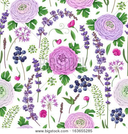 Seamless pattern made with pink lilac color buttercup flowers green leaves blue berries and lavender.