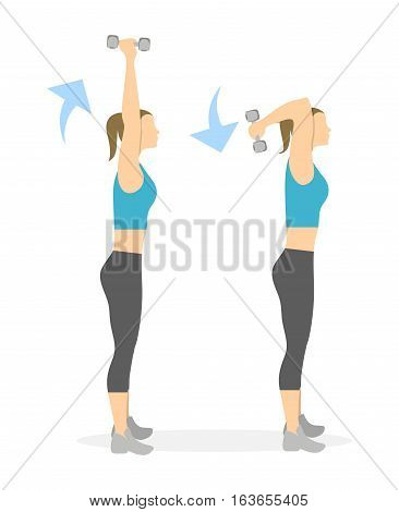Arms exercise for women on white background. Workout for arms and shoulders with dumbbels.