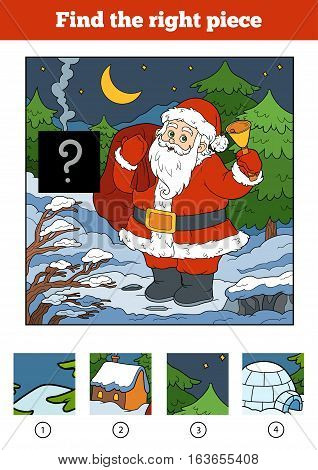 Find the right piece, jigsaw puzzle game for children. Santa Claus and background