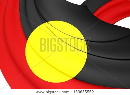 Australian Aboriginal Flag. 3D Illustration. Close up.