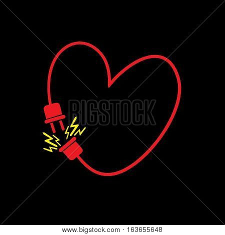Vector heart made from electric line with plug. Love connection concept. Original vector illustration template for Valentine's day