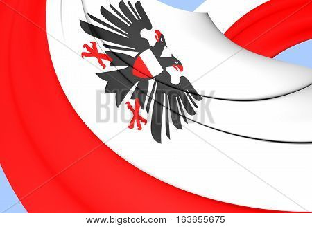 3D Flag Of Lubeck (schleswig-holstein), Germany. 3D Illustration.