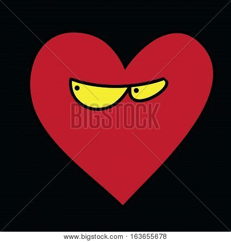 Heart with eyes on a black background. Funny vector illustration picture a large range of applications