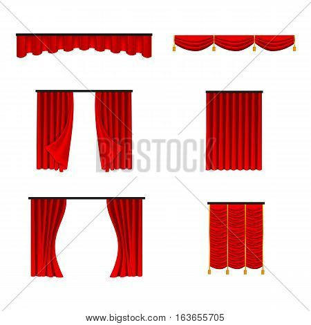 Scarlet red silk velvet interior curtains design ideas realistic collection icons isolated vector illustration