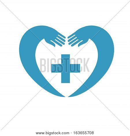 icon of heart with a cross. suitable for logo or emblems