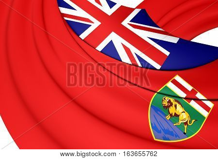 3D Flag Of Manitoba, Canada. 3D Illustration.