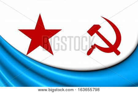 3D Naval Ensign Of The Soviet Union (1950-1992). 3D Illustration.