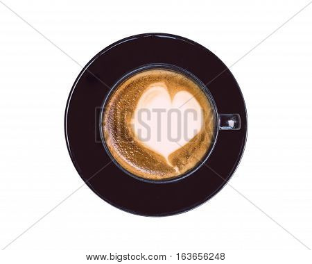 Top View Hot Latte Coffee In Black Cup Isolated On White. Saved With Clipping Path