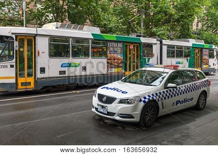 Melbourne Australia - December 27 2016: Holden police car parked in Melbourne CBD area. Victoria Police provides a 24-hour service to the Victorian community