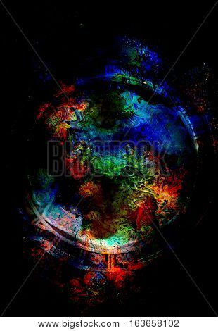 Cosmic space and colorful structure with circle shapes, color cosmic abstract background