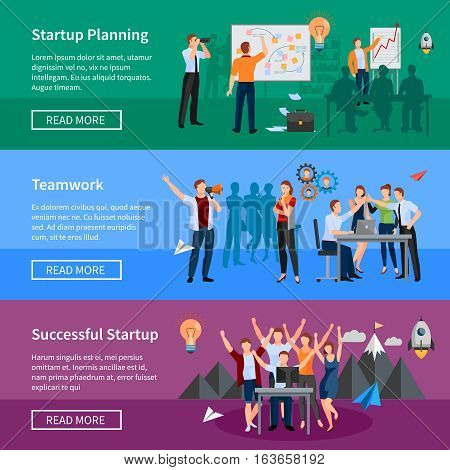 Successful startup 3 flat horizontal banners webpage design with innovative product planning and teamwork isolated vector