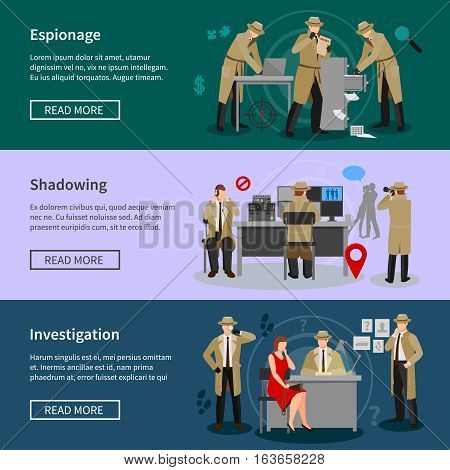 Detective spy horizontal banners with agents in various professional situations in flat style vector illustration