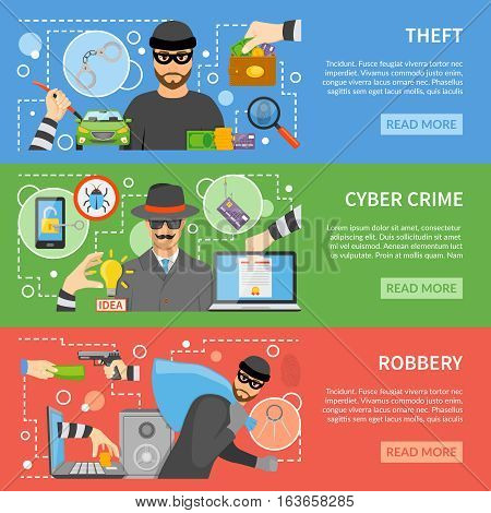 Theft flat horizontal banners with different types of stealing and threats for property money information vector illustration