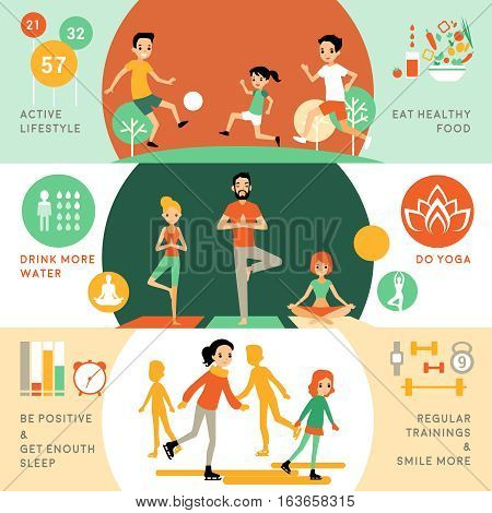 Active healthy lifestyle horizontal banners with people and different activities for good health vector illustration