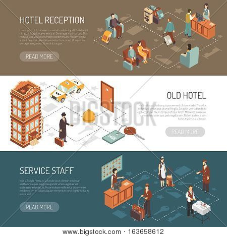 Hotel isometric horizontal banners with old hotel building service staff and reception hall with visitors  vector illustration