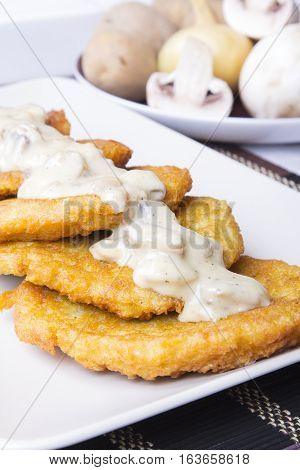 potato pancakes with mushroom sauce, copy space
