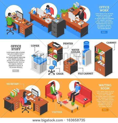 Three horizontal banners set with isometric office workplaces colorful furniture with text and read more button vector illustration