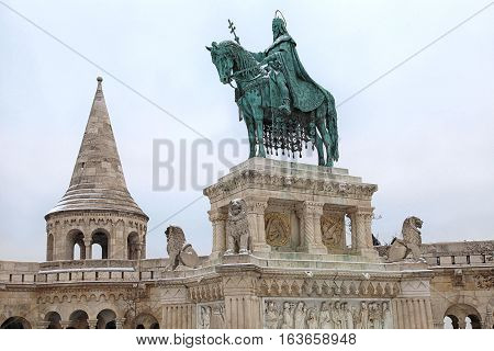 monument of Saint Stephen - the first king of Hungary in front of Fisherman's Bastion in in Buda Castle, Budapest, Hungary