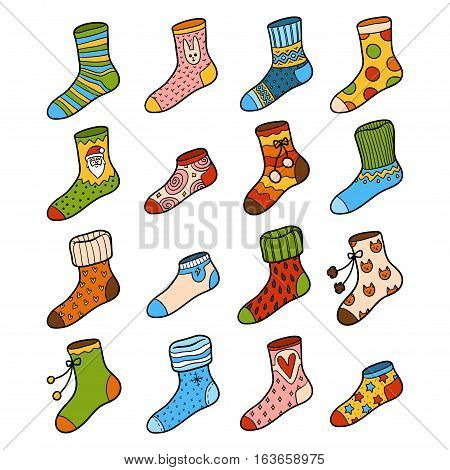 Vector Colorful Set Of Socks With Ornaments
