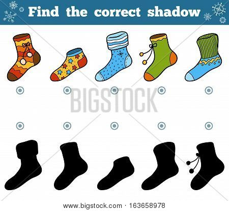 Find the correct shadow, education game for children, set of socks with ornaments