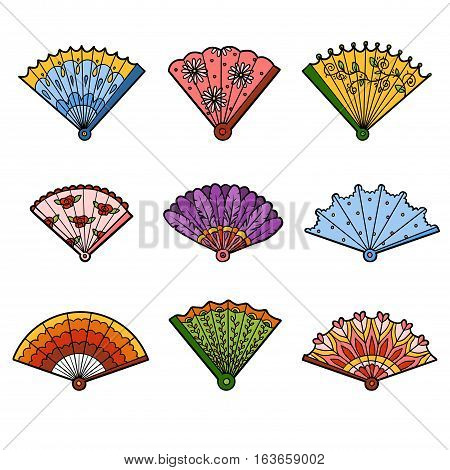 Colorful set of fans, color vector cartoon collection