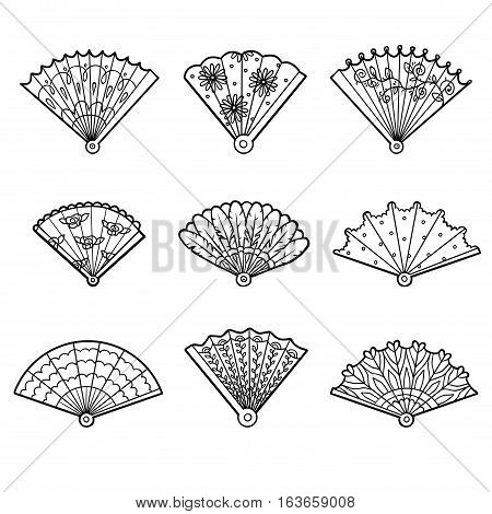 Black and white set of fans, vector cartoon collection