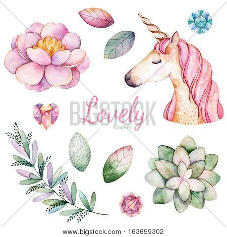 11 magic clipart of peony,succulent plant,leaves,branch,unicorn and gemstones.
