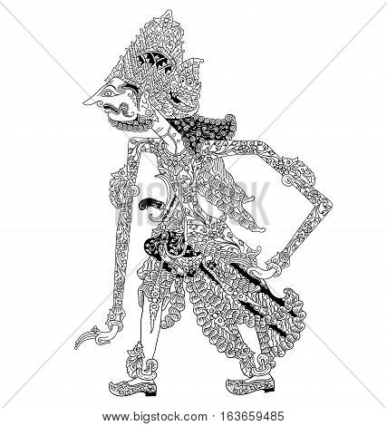 Batara Brahma, a character of traditional puppet show, wayang kulit from java indonesia.