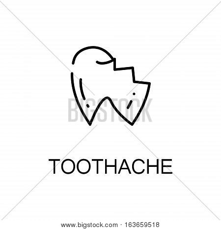 Toothache flat icon. High quality outline symbol of illness and injury for web design or mobile app. Thin line signs of toothache for design logo, visit card, etc. Outline pictogram of toothache