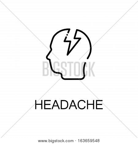 Headache flat icon. Single high quality outline symbol of illness and injury for web design or mobile app. Thin line signs of headache for design logo, visit card, etc. Outline pictogram of headache