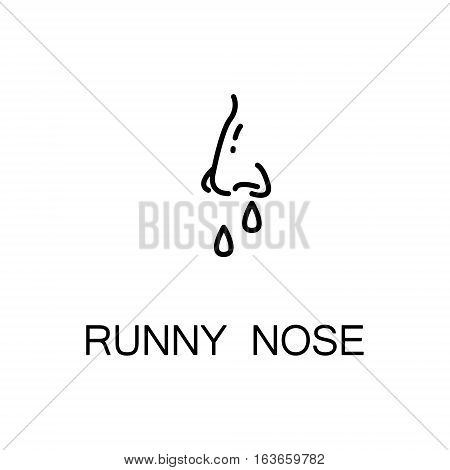 Runny nose flat icon. High quality outline symbol of illness and injury for web design or mobile app. Thin line sign of runny nose for design logo, visit card, etc. Outline pictogram of runny nose