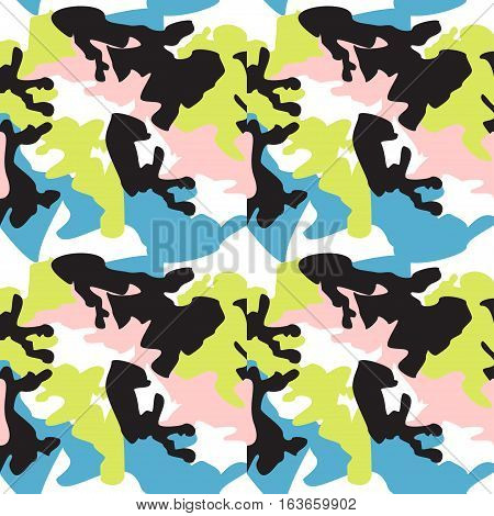 Camouflage pattern background seamless clothing print repeatable camo glamour vector. Pink lime black white