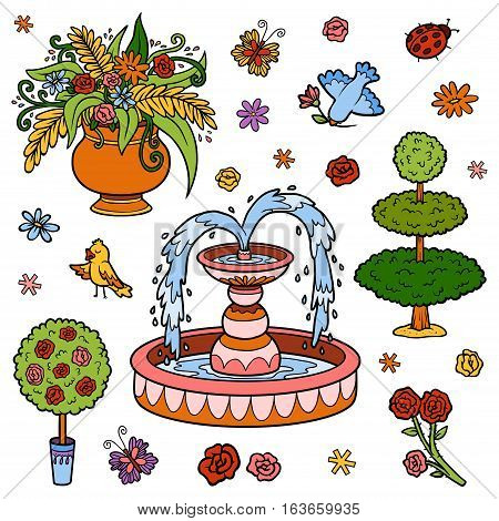 Color set of objects from the royal garden. Vector cartoon fountain flowers bushes for a princess