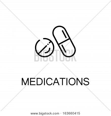 Medications flat icon. High quality outline symbol of medical euipment for web design or mobile app. Thin line signs of medications for design logo, visit card, etc. Outline pictogram of medications