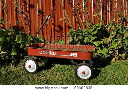 EAST GRAND FORKS, MINNESOTA, Aug 5, 2016 The wagon is a Radio Flyer product which also makes tricycles, bicycles, and ride-ons and is base in Chicago, IL where it was founded in 1917