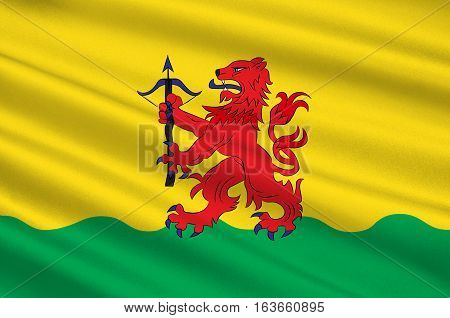 Flag of Kronoberg County is a county in southern Sweden. 3d illustration